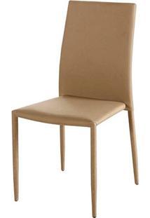 Cadeira Amanda 6606 Estrutura Metal Revestido Em Poliester Cor Bege Escuro - 44946 - Sun House