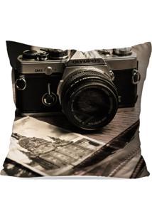 Capa De Almofada Avulsa Decorativa Câmera Retro 45X45Cm