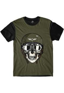 Camiseta Bsc Caveira De Capacete Exército Sublimada Masculina - Masculino-Marrom