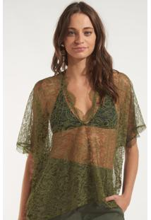 Blusa Rosa Chá Marcela Seda Verde Feminina (Verde Militar, M)