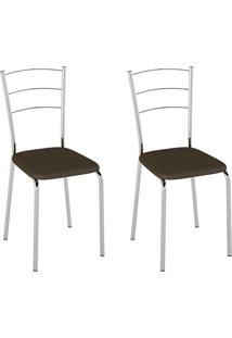 Cadeiras Kit 2 Cadeiras Corino Pc160021 Cacau - Pozza