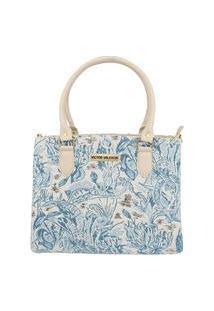 Bolsa Love Marfim Com Tecido Azul Victor Valencia