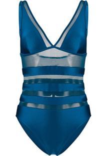 Zimmermann Maiô Com Recortes Translúcidos - Azul