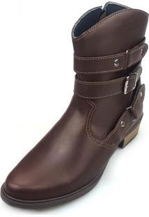 Bota Love Shoes Cano Curto Country 3 Tiras Fivela Café