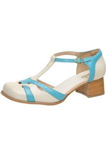 Sapato Bico Quadrado Ref: 3165 Off White / Piscina - Kanui
