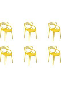 Kit 06 Cadeiras Allegra Amarela Rivatti