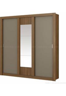 Guarda-Roupa 3 Portas De Correr Elus Flex Com Espelho Ébano/Atacama/Ébano - Carraro