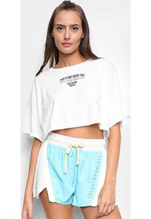 Camiseta Cropped Colcci Eco Active Feminina - Feminino-Branco