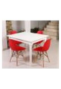 Conjunto Mesa De Jantar Robust 110X90 Branca + 04 Cadeiras Charles Eames Eiffel - Vermelho