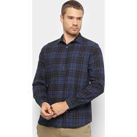 5acebf13c099a4 Camisa Azul Marinho Xadrez masculina | El Hombre