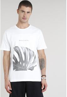 Camiseta Masculina Monstera Manga Curta Gola Careca Off White