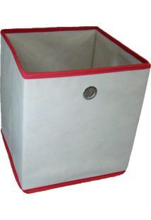 Caixa Organizadora Com Ilhós 28X31X28Cm Organibox Bege/Vermelho