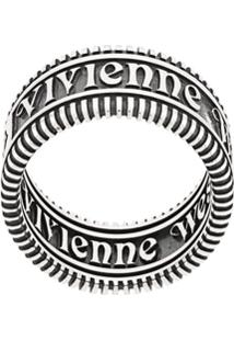 Vivienne Westwood Anel Grosso Com Texto - Prateado