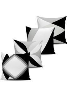 Kit 4 Capas Almofadas Abstrata Preta E Branca 45X45Cm Bw022 - Multicolorido - Dafiti