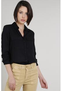 Camisa Feminina Ampla Com Bolso Manga Longa Preta