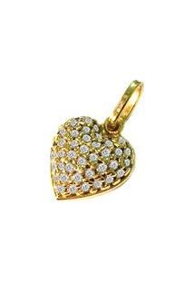 Pingente Pratamil Coração De Ouro Com Zircônia - Feminino-Ouro