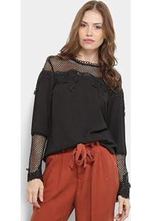 Blusa Only Fashion Renda Feminina - Feminino-Preto