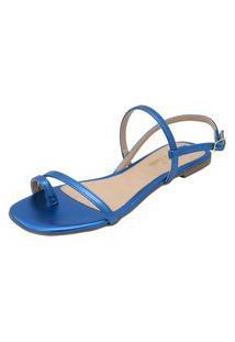 Sandália Rasteira Donna Santa Tiras Finas Azul Metalizado