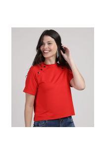 Blusa Feminina Com Recortes E Botão Manga Curta Decote Redondo Vermelha