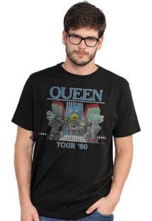 Camiseta Masculina Queen Tour 80' - Masculino-Preto