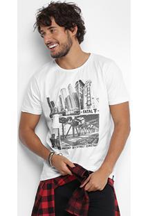 Camiseta Fatal Manga Curta Estampada Masculina - Masculino-Branco