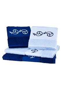 Jogo Toalha 4 Pçs Banho Bordado Arteira Arabesco Perfeito Estilo Azul Marinho/Azul Claro