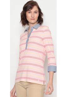 Blusa Em Piquê Listrada- Rosa Claro Azul- Benettonbenetton