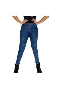 Calca Feminina Clara Jeans Rasgada Destroyed Skinny Para O Dia A Dia De Laycra