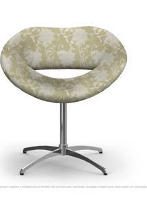 Cadeira Beijo Floral Bege Poltrona Decorativa Com Base Giratória