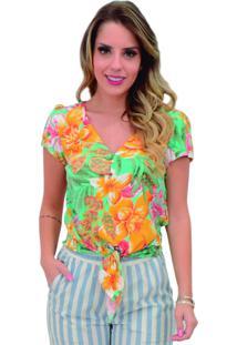 Blusa Mamorena Decote Botões Barra Amarrar Multicolorida