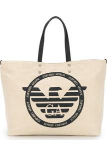 e8cc9ce77 ... Emporio Armani Bolsa Tote Com Logo De Canvas - Neutro