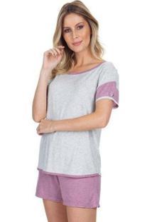 Pijama Curto Cassis Feminino - Feminino-Rosê