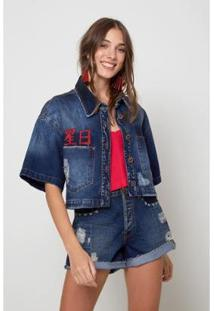 Camisa Jeans Oh, Boy! Cropped Feminina - Feminino-Azul