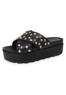 Sandalia Tratorada Spikes Damannu Shoes Amanda Napa Preto