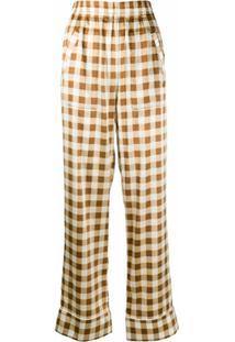Ganni Calça Pantalona Xadrez - Marrom