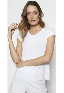 Camiseta Com Manga Curta- Branca- Blessbless