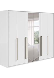 Guarda-Roupa Casal Reali 6Pt 6Gv Com Espelho Branco