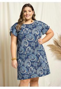 Vestido Curto Mandalas Azul Amplo Plus Size