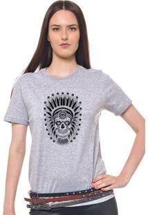 Camiseta Feminina Joss - Caveira Indio - Feminino-Mescla