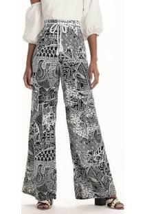 fd0672d69 Dzarm Web Store. Calça Pantalona Estampada Em Tecido ...