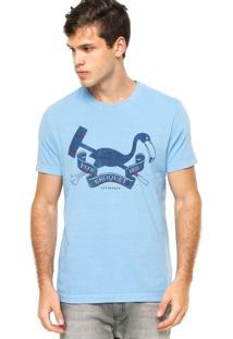 Camiseta Manga Curta Catamaran Flamingo Escudo Catam Azul