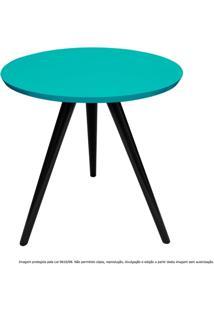 Mesa Lateral De Canto Tripé Média Laqueada Preta E Azul Tiffany