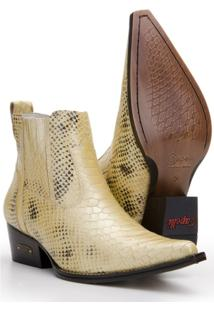 Bota Texana Country Masculina Capelli Boots Em Couro Com Recortes E Bico Fino Bege 37 - Masculino