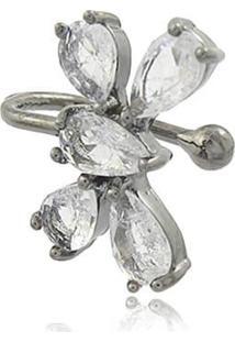 Brinco Viva Jolie Piercing Borboleta Cristal Fusion Ródio Negro