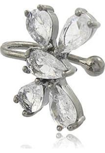 Brinco Viva Jolie Piercing Cristal Fusion Borboleta Ródio Negro - Kanui