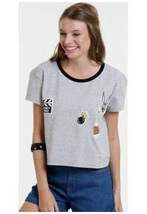 Blusa Feminina Cropped Estampa Frontal Manga Curta Looney Tunes