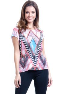Blusa 101 Resort Wear Tunica Mangas Curtas Estampada Grafismo