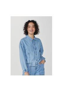 Jaqueta Jeans Bomber Feminina