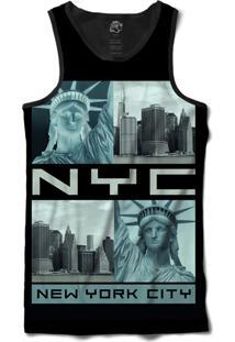 Regata Bsc Nova Iorque Estátua Da Liberdade Negativo Sublimada Preto