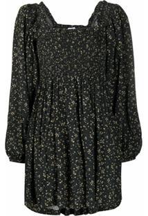 Ganni Vestido Com Estampa Floral De Crepe - Preto